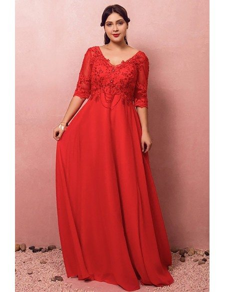 Custom Flowy Long Red Chiffon Vneck Sequined Formal Dress with Half Sleeves Plus Size High Quality