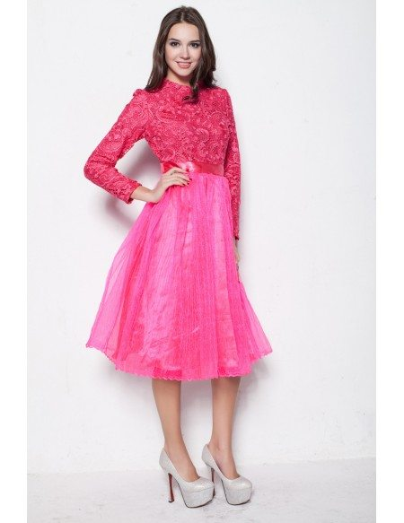 Modest Fuschia Long Sleeves Lace Tulle Graduation Dresses in Short