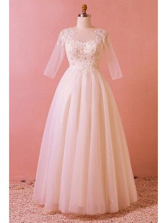 Custom Modest Sequined Lace Wedding Party Dress Floor Length with Illusion Sleeves High Quality