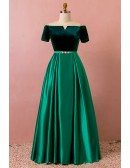 Custom Formal Green Satin with Velvet Evening Dress with Sleeves High Quality