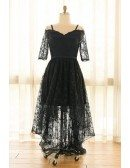 Custom Black Lace High Low Party Dress with Short Sleeves High Quality