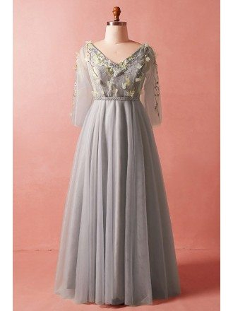 Custom Elegant Grey Vneck Formal Party Dress with Petals Tulle Sleeves High Quality