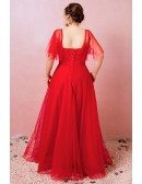 Custom Red Polka Dot Tulle Cute Party Dress with Puffy Sleeves High Quality