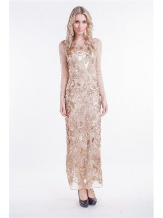 Elegant Sheath Embroided Tulle Long Evening Dress With Sleeves