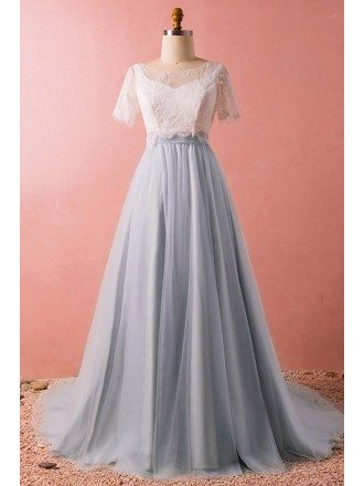Custom Elegant Grey Tulle Formal Dress Modest with Removable Lace Jacket High Quality