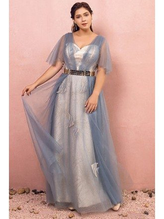 Custom Unique Blue Beaded Fish Pattern Tulle Prom Dress with Puffy Sleeves High Quality
