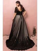 Custom Formal Long Black Lace Evening Party Dress Vneck with Short Sleeves High Quality