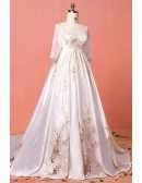 Custom Luxury Golden Lace Modest Wedding Dress with Sleeves Long Train High Quality