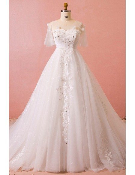 Custom Illusion Neck Beaded Lace Formal Wedding Dress with Puffy Sleeves High Quality