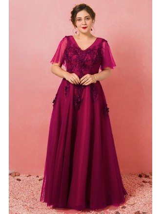 Custom Vneck Modest Beaded Flowers Formal Party Dress with Puffy Sleeves Plus Size High Quality