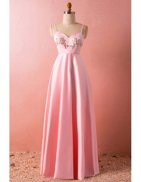 Custom Pink Aline Stain Simple Formal Dress with Lace Cape High Quality