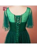 Custom Beaded Pearls Green Mid Length Party Dress with Sheer Neck Puffy Sleeves Plus Size High Quality