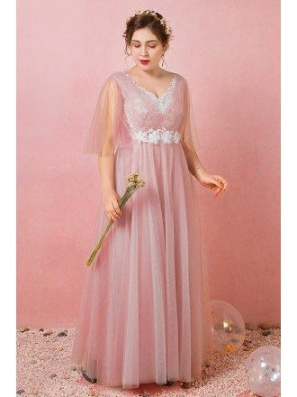 Custom Pleated Pink Tulle Gorgeous Wedding Party Dress with Puffy Sleeves High Quality