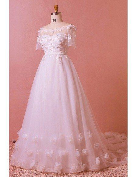 Custom Romantic Petals Long Train Wedding Dress Illusion Neck with Sleeves High Quality