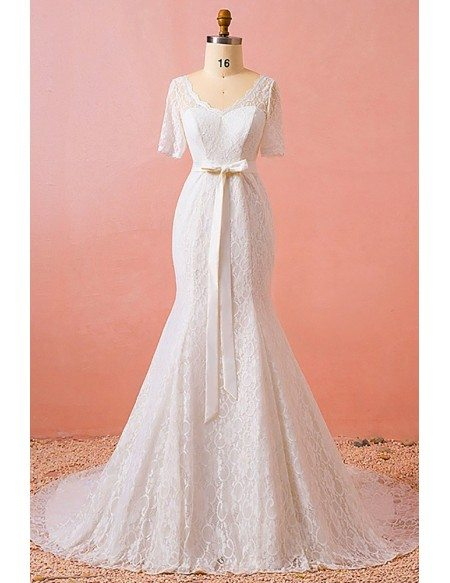Custom Fitted Mermaid Lace Vneck Wedding Dress Laceup with Short Sleeves