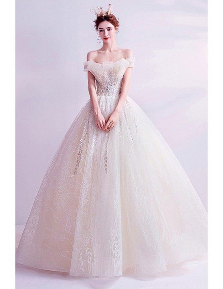 Strapless Champagne Ballgown Princess Wedding Prom Dress With Appliques