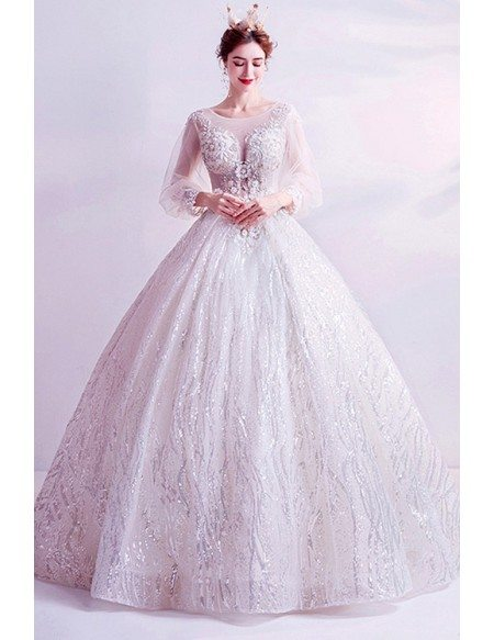 Bling Sequins Dreamy Ballgown Wedding Formal Dress With Long Sleeves