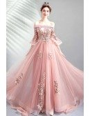 Beautiful Pink Off Shouler Long Prom Dress Tulle With Bell Sleeves