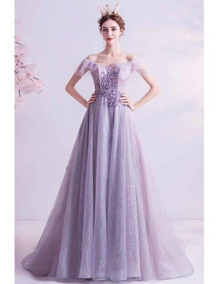 Beautiful Dusty Purple Bling Prom Dress Laceup With Train