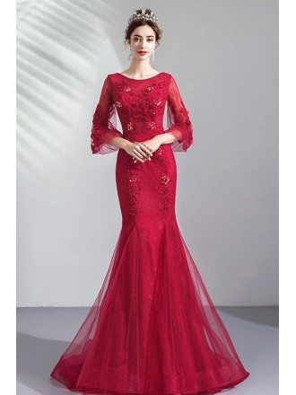 Burgundy Mermaid Formal Prom Dress Round Neck With Bell Sleeves