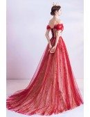 Red With Bling Gold Sequins Prom Dress With Corset Top