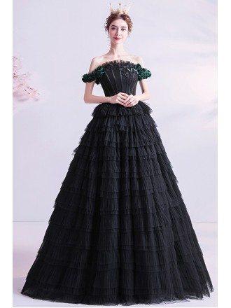 Gothic Chic Black Formal Prom Dress Ballgown Strapless