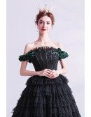 Gothic Chic Black Formal Prom Dress Ballgown Strapless