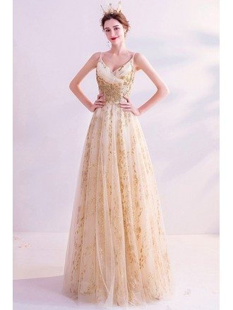 Formal Long Gold Aline Prom Dress With Spaghetti Straps