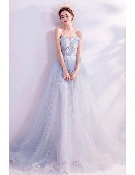 Fairytale Light Blue Flowy Long Tulle Prom Dress For Teens