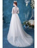 Modest Round Neck Lace Half Sleeved Wedding Dress With Tulle