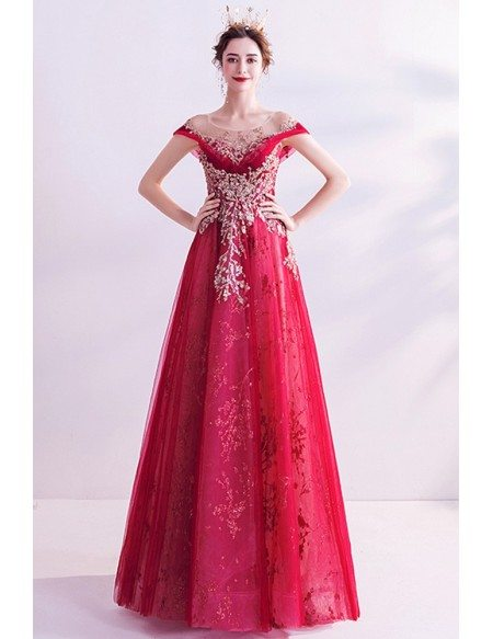Red Tulle Aline Prom Dress With Bling Sequins Illusion Neckline