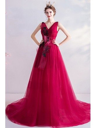 Vneck Pleated Tulle Formal Prom Dress With Bow Knot In Front