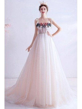 Flowy White Tulle Elegant Prom Dress Long Aline With Flowers