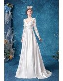 Romantic Vneck Satin Winter Wedding Dress With Lace Long Sleeves