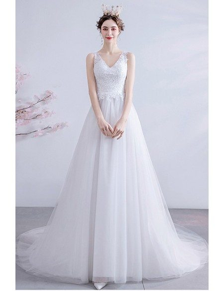 Beach Wedding Lace Top Vneck Wedding Dress Aline With Train