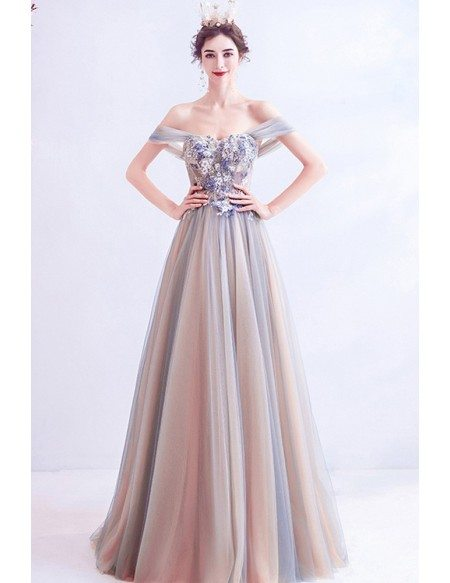 Elegant Ombre Grey Flowy Tulle Prom Dress With Off Shoulder Flowers
