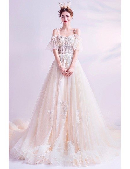 Romantic Ballgown Tulle Puffy Prom Princess Dress With Long Train