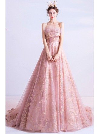 Pink With Gold Sequins Tulle Formal Dress Strapless With Train