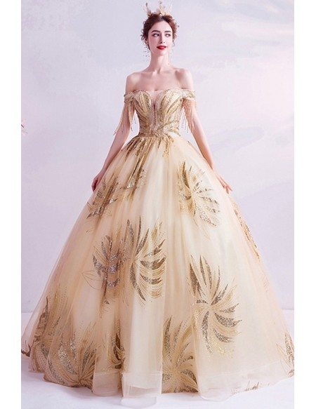 Formal Champagne Gold Ballgown Prom Dress With Sequins Bling Pattern