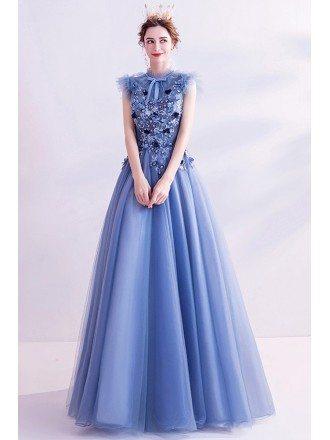 Retro High Neck Blue Aline Prom Dress With Flowers