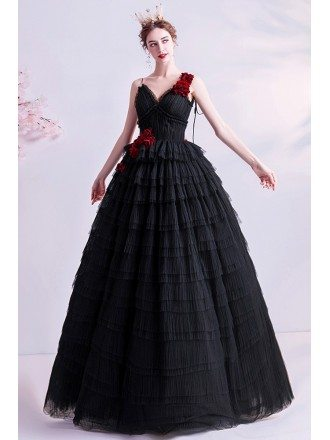 Gothic Black With Red Flowers Formal Prom Dress With Straps