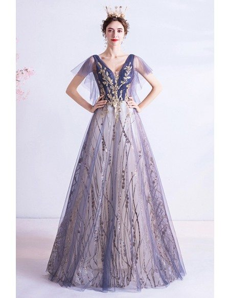 Purple With Gold Embroidery Vneck Prom Dress With Puffy Sleeves