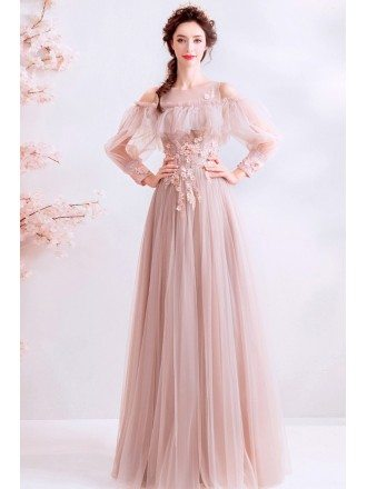 Gorgeous Nude Pink Flowy Tulle Long Prom Dress With Long Sleeves
