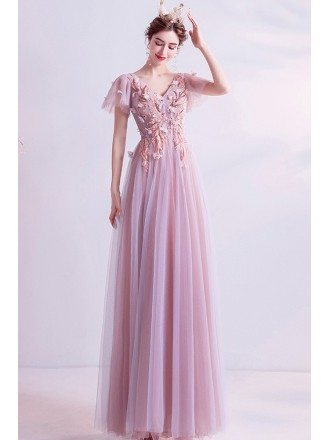 Pink Tulle Aline Vneck Gorgeous Prom Dress With Petals Puffy Sleeves