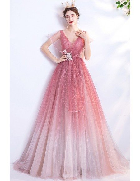 Unique Shinning Ombre Pink Ballgown Prom Dress With Puffy Sleeves