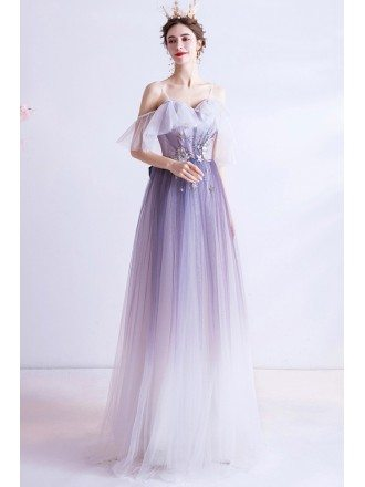 Ombre Purple Aline Tulle Sequins Star Prom Dress With Straps