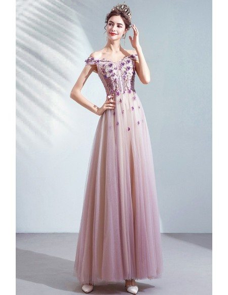 Dusty Purple Tulle Aline Cute Prom Dress With Flowers