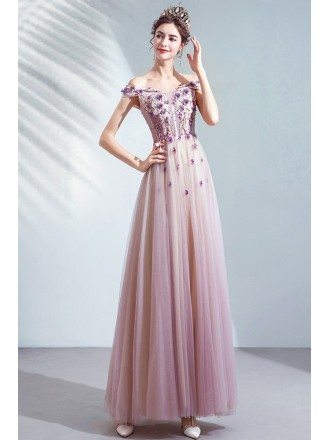 Dusty Purple Tulle Aline Cute Prom Dress With Flowers