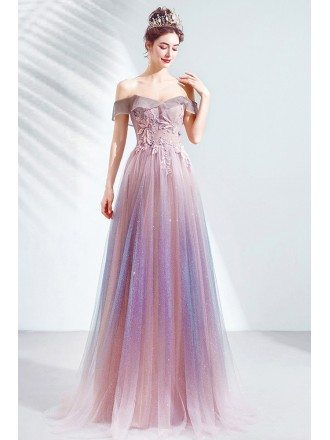 Gorgeous Purple Pink Tulle Strapless Prom Dress With Petals Flowers