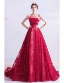 Strapless Burgundy Sequins Formal Long Prom Dress With Train